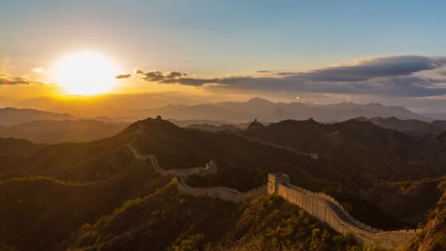 t/l pan sunrise of jinshanling great wall, beijing, china - great wall of china stock videos & royalty-free footage