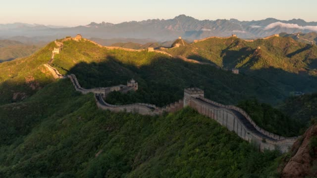 t/l td sunrise of jinshanling great wall / beijing, china - great wall of china stock videos & royalty-free footage