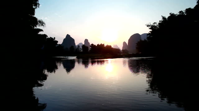 sunrise of lijiang river - guilin stock videos & royalty-free footage