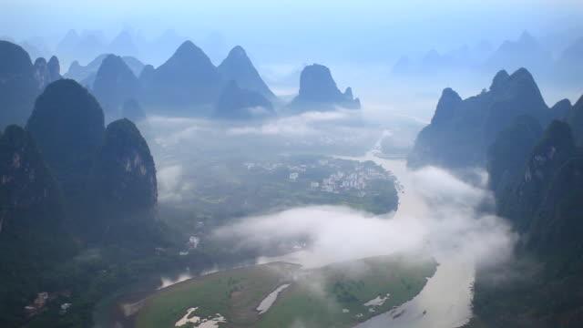 sunrise of lijiang river,yangshuo,guilin,guangxi,china - li river stock videos & royalty-free footage
