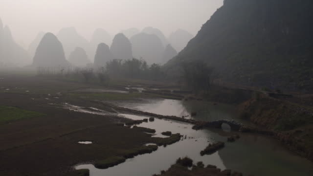 sunrise of yulong river,yangshuo,guilin,guangxi,china - bamboo plant stock videos and b-roll footage