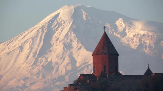 sunrise on ararat mountain and khor virap monastery - 17th century stock videos & royalty-free footage