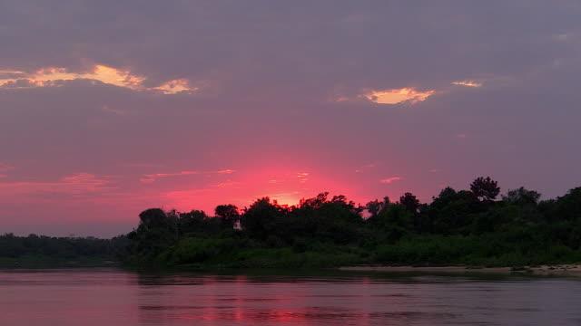 Sunrise on Cuiaba River, Pantanal, Brazil