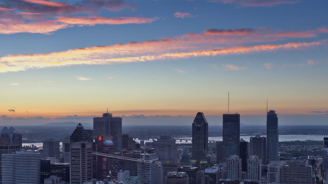 ws t/l sunrise on downtown montreal / montreal, quebec, canada - montreal video stock e b–roll