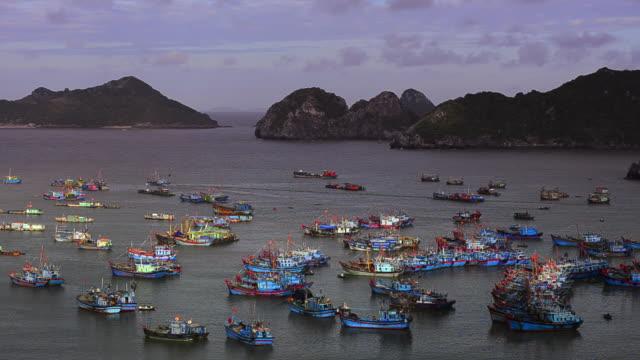 sunrise on halong bay with junks taken from cat ba, vietnam - dschunke stock-videos und b-roll-filmmaterial