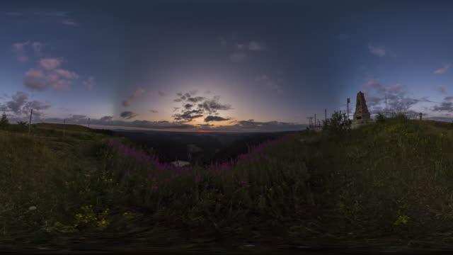 360 vr sunrise on high viewpoint on mountain feldberg - 360 stock videos & royalty-free footage