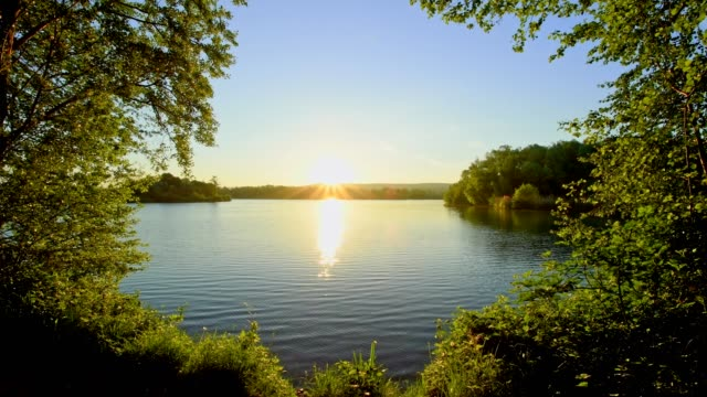 Sunrise on Lake, Niedernberg, Franconia, Bavaria, Germany