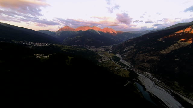 sunrise on mountain top - aerial view from uav - quadcopter stock videos & royalty-free footage