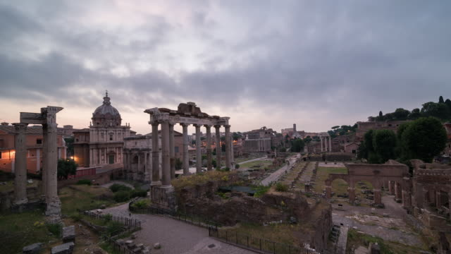 Sunrise on Roman Forum with the Temple of Saturn in the foreground, Rome, Italy