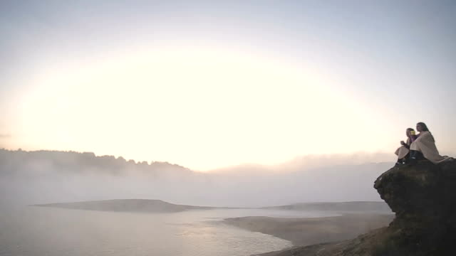 sunrise on the foggy lake - tea hot drink stock videos & royalty-free footage