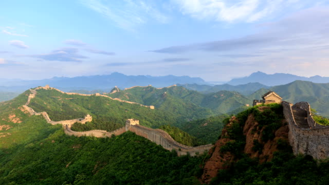 t/l ws ha sunrise on the great wall / beijing, china - great wall of china stock videos & royalty-free footage