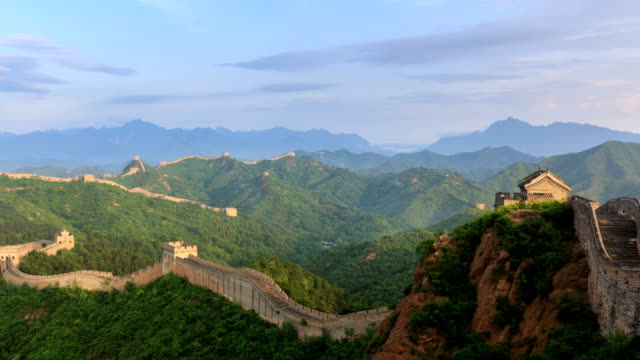 t/l ws ha pan sunrise on the great wall / beijing, china - great wall of china stock videos & royalty-free footage
