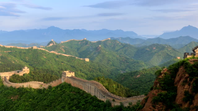 t/l ws ha zo sunrise on the great wall / beijing, china - great wall of china stock videos & royalty-free footage