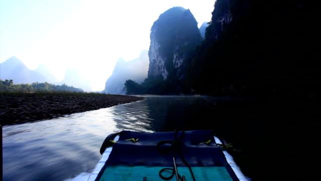 sunrise on the li river - li river stock videos & royalty-free footage