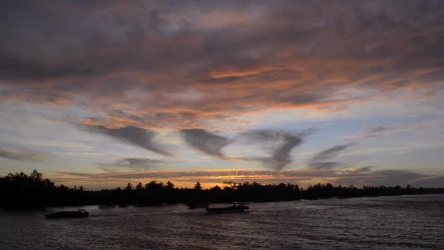sunrise on the mekong delta, vietnam - mekong delta stock videos & royalty-free footage