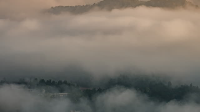 Sunrise on the mountain view point and moving of mist , 4k(UHD) , Time-lapse