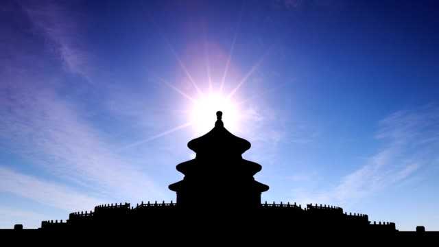 t/l cgi ws sunrise on the temple of heaven / beijing, china - temple of heaven stock videos & royalty-free footage