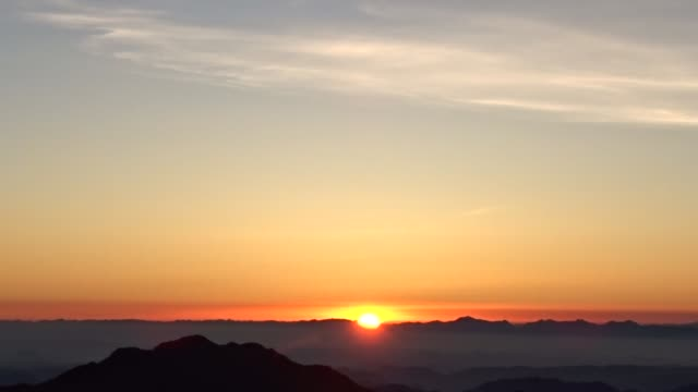 sunrise on top of mount sinai in egypt - horizon over land stock videos & royalty-free footage