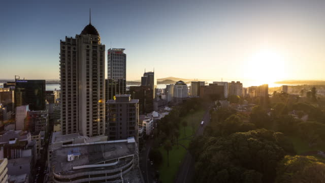 Sunrise Over Auckland City Centre and Albert Park - Time Lapse