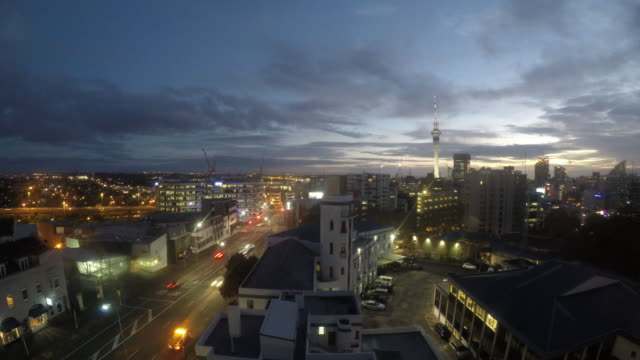 sunrise over auckland city skyline - north island new zealand stock videos & royalty-free footage