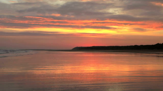 sunrise over bamburgh castle - northumberland coast stock videos & royalty-free footage