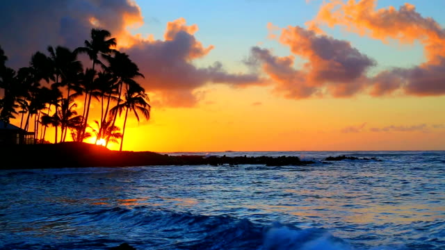 Sunrise over beach in Kauai, Hawaii