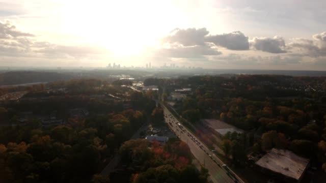 sunrise over cloudy atlanta - atlanta georgia stock videos & royalty-free footage