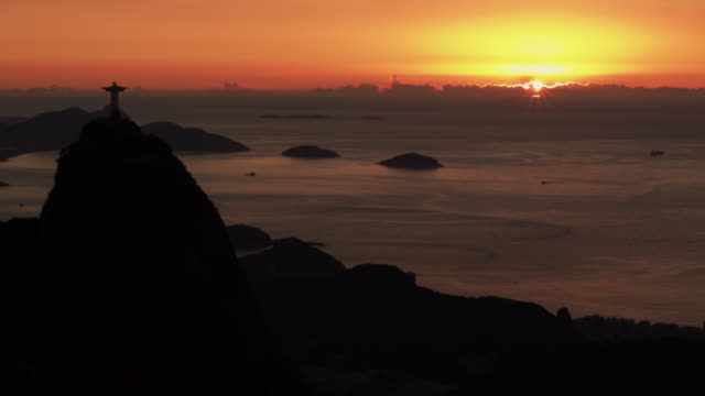 sunrise over corcovado - 1 minute or greater stock videos & royalty-free footage