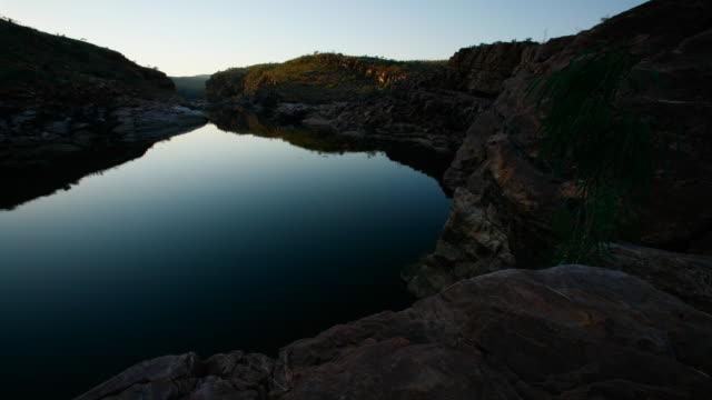 T/L, WS, sunrise over Dimond Gorge / Mornington Wilderness Sanctuary, Gibb River Road, Australia