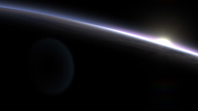 Sunrise over Earth as if seen from space shuttle