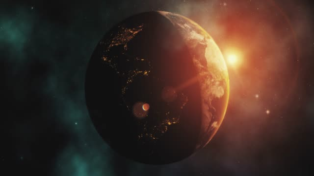 sunrise over earth from space with star background - 20 seconds or greater stock videos & royalty-free footage