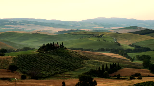 vídeos de stock e filmes b-roll de sunrise over farm of olive groves and vineyards in tuscany - cultura italiana