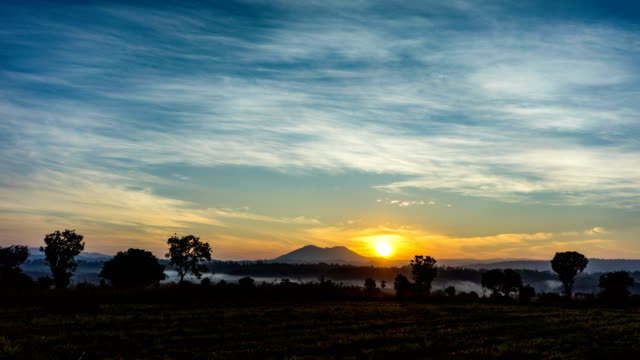 sunrise over grassland with silhouette mountain background, thung salaeng luang national park, savanna plain of thailand - national grassland stock videos & royalty-free footage