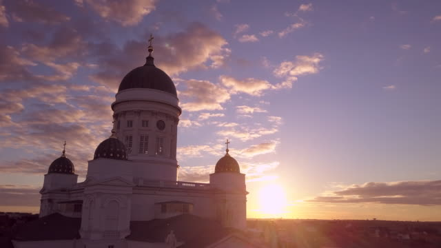 Sunrise over Helsinki with the Cathedral in the foreground with city beyond