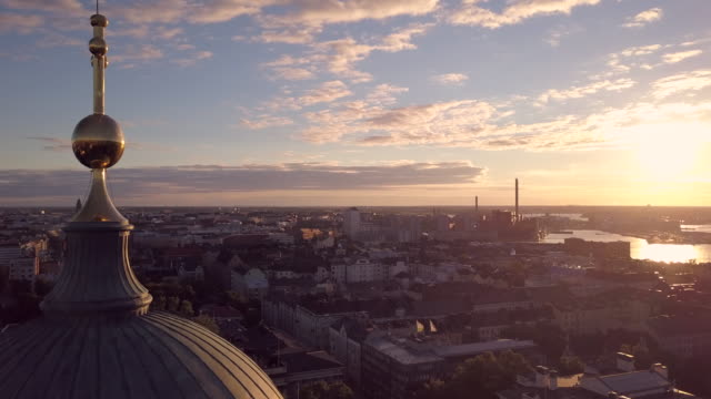 sunrise over helsinki with the cathedral in the foreground with city beyond - helsinki video stock e b–roll