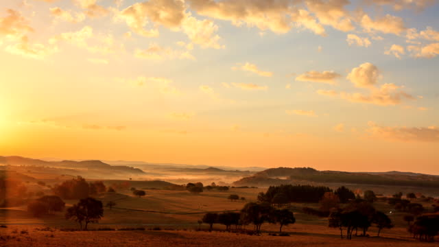 Sunrise over hilly landscape of Hexigten Banner in Inner Mongolia, China