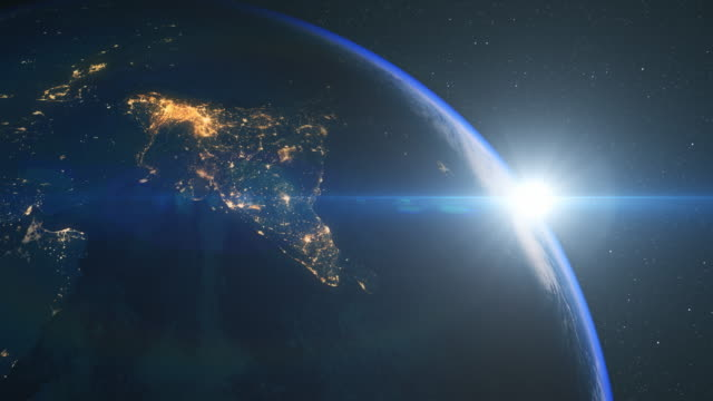 sunrise over india from space - orbiting stock videos and b-roll footage