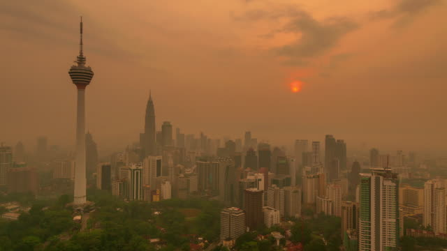 TIME LAPSE sunrise over Kuala Lumpur skyline