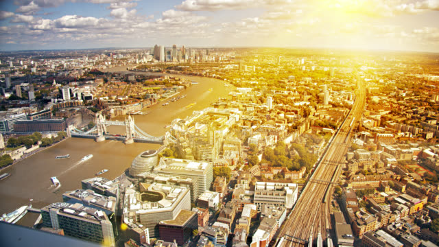 sunrise over london downtown - corporate business stock videos & royalty-free footage