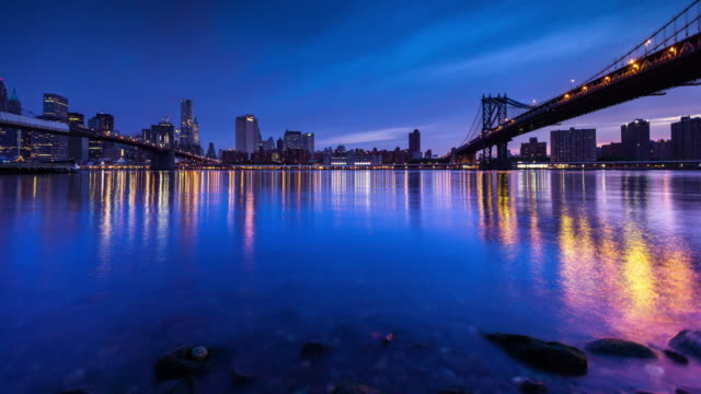 sunrise over manhattan - time lapse - brooklyn bridge stock videos & royalty-free footage