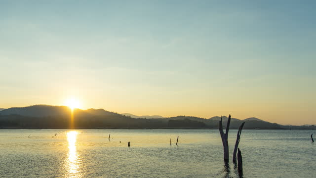 stockvideo's en b-roll-footage met zonsopgang boven bergen en meer, time lapse video - boomstronk