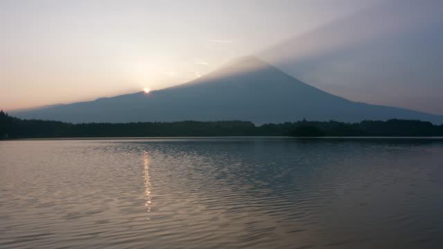 sunrise over mt. fuji and lake tanuki - shizuoka prefecture stock videos and b-roll footage