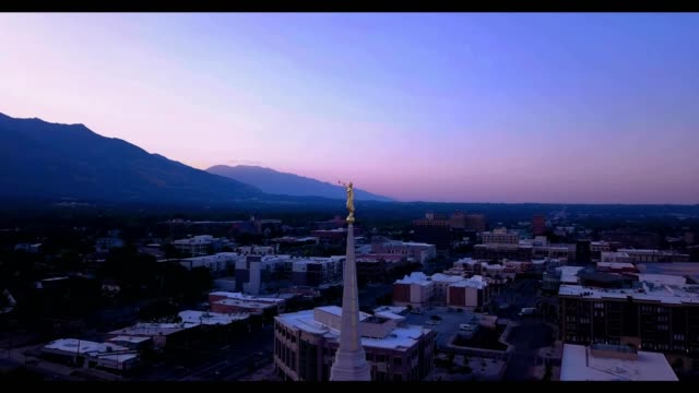 "sunrise over ogden city utah as seen from ""angel moroni"" - mormonism stock videos & royalty-free footage"