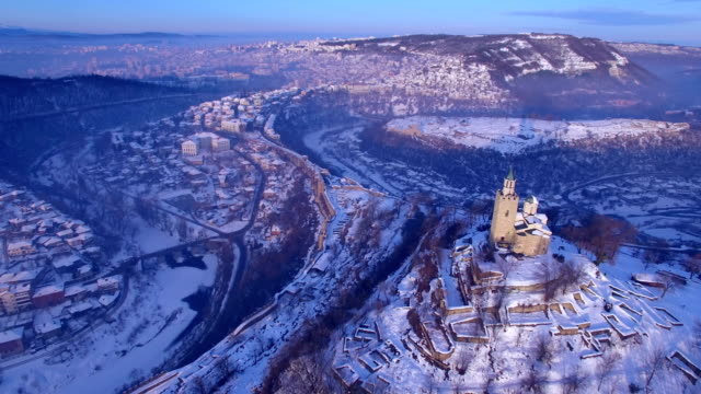 sunrise over old town of veliko tarnovo - castle stock videos & royalty-free footage