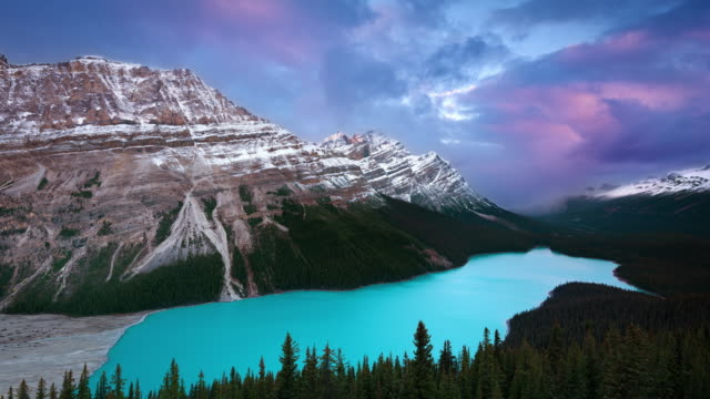 vídeos de stock, filmes e b-roll de ws t/l sunrise over peyto lake seen from a icefields parkway viewpoint - alberta