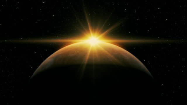 sunrise over planet from space with galaxy star - halo stock videos and b-roll footage