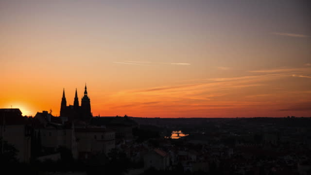 sunrise over prague - prague stock videos & royalty-free footage