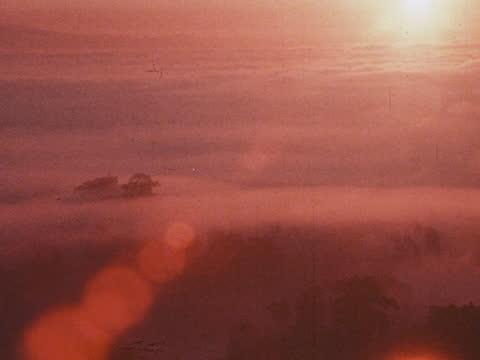 "1975 - sunrise over santa barbara, ca, usa - ""archive farms"" stock videos & royalty-free footage"