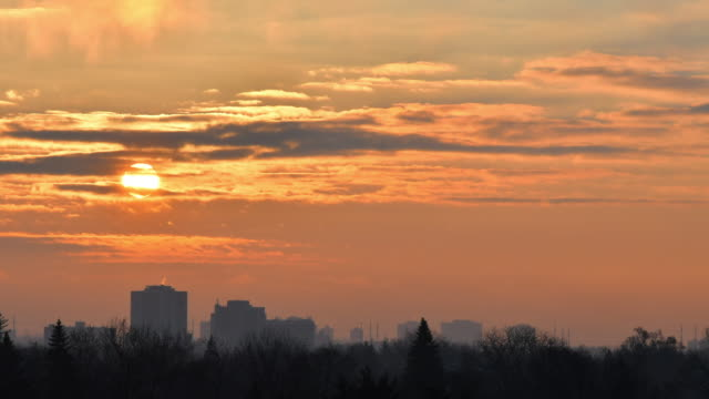 sunrise over scarborough which is the east end of toronto, canada - dramatic sky stock videos & royalty-free footage