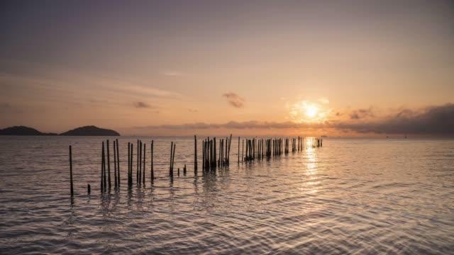 sunrise over sea and horizon,night to day time lapse. - andamansjön bildbanksvideor och videomaterial från bakom kulisserna